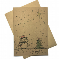 Hand Drawn Style Snowman Christmas Card
