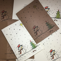 Pack Of 4 - Hand Drawn Style Snowman Christmas Cards