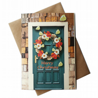 Personalised Christmas card - Yellow Butterfly Wreath on green door