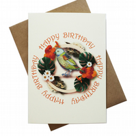 Bird on frame with Monstera leaves - birthday card