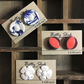 Three Pairs Vintage Button Stud Handmade Earrings