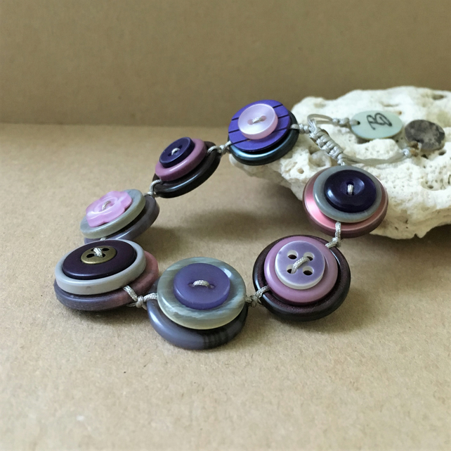 SALE - Purple Colour Story Vintage Button Handmade Adjustable Bracelet