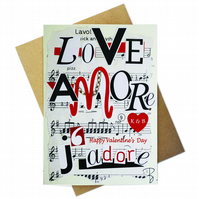 Greeting card - LOVE Jadore Amore - Happy Valentine's Day - personalized
