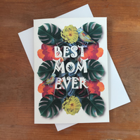 Jungle bird - BEST MOM EVER - Happy Mother's Day card - can frame for wall art