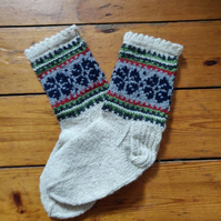 hand knit thick wool socks traditional fairisle nordic christmas