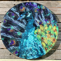 King of Hearts Peacock Glass Chopping Board