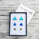 Gift Set triangle stud earrings in three sizes, you choose the colours
