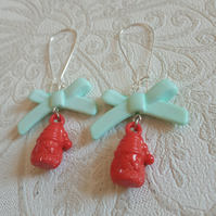 Santa Bow-by - Red Santa Head Acrylic Charm Earrings with Green Bows