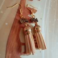 GOLDENgoddess earrings - tassel and bow gold earrings