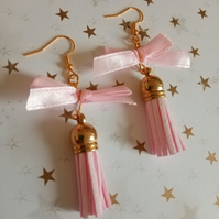PrettyinPINK - Bow and tassel gold earrings