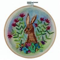 Hare Among the Flowers embroidered hoop