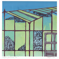 Original lino cut print OVERGROWN GREENHOUSES