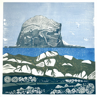 Original lino print Bass Rock from The Leithes