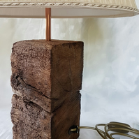 Repurposed OLD RAILWAY SLEEPER TABLE LAMP with COPPER fitting FAB-u-LoUs