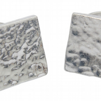 10th Wedding Anniversary - Pure Tin Beaten Square Cufflinks Beaten 10