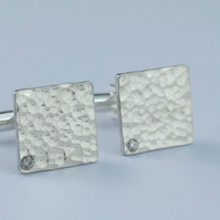 10th Wedding Tin Cufflinks - Tin and Diamond Square Cufflinks