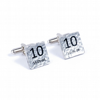 10th Wedding Anniversary Personalised Cufflinks