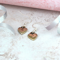 Beaten Bronze Heart Earrings - Matching Necklace Available