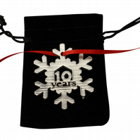 10 Year Cut Out Metal Snowflake Christmas Tree Hanging Decoration - Anniversary