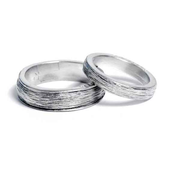 10th Year Wedding Anniversary Tin Rings for Him and Her Inscribed with Ten Years