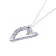 10 Year Tin Gift Heart Pendant - Modern Hammered Pure Tin Necklace
