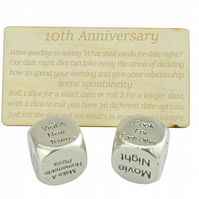 10 Year Anniversary Metal Date Dice 100% Pure Tin