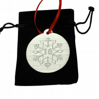 10th Christmas Snowflake Metal Decoration - 10th Anniversary Idea