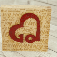 10th Anniversary Wooden Acrylic Decoration - Freestanding Modern Gift
