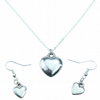 10th Year Anniversary Tin Heart Earring & Pendant Set - 100% Pure Tin