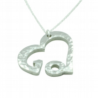 10th Anniversary Beaten Heart Pendant with Sterling Silver Chain
