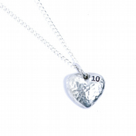 10th Anniversary Tin Heart Pendant