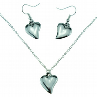 10 Year Anniversary Polished Offshaped 100% Pure Tin Necklace and Earring Set