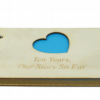 10th Anniversary Our Story So Far Scrapbook - DIY Scrapbook Blue Wooden