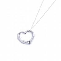 Tin 10th Wedding Anniversary Diamond Heart Pendant
