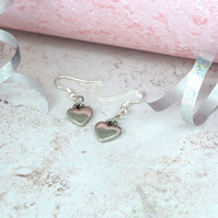 Polished Tin Heart Earrings - Matching Necklace Available