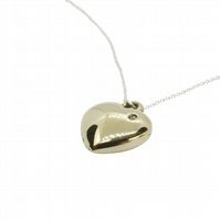 Solid Bronze Polished Heart Pendant - Stamped with '8'