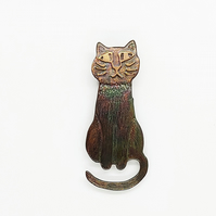 copper cat brooch