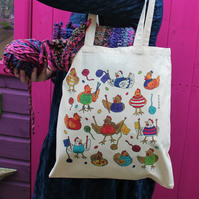 Knitting Chickens Tote Bag - Funny Chicken Gift - Colourful - Fairtrade Cotton