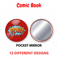 Comic Book Pocket Mirror - 12 different designs to choose from