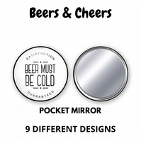 Beers & Cheers Pocket Mirror - 9 different designs to choose from