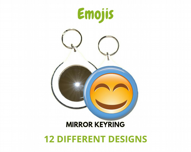 Retro Emoji  Mirror Keyrings – 12 different designs to choose from