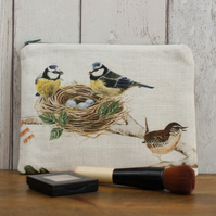 Blue Tit Print Makeup Bag