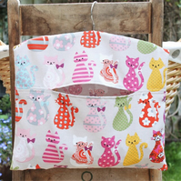 Colourful Cats Print Peg Bag in Light Grey Cotton Fabric