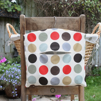 Red, Grey and Brown Spot Print Cotton Clothes Peg Bag