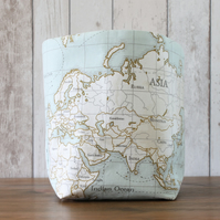 Map Print Fabric Storage Bin
