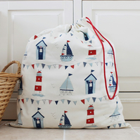 Seaside Beach Hut Laundry or Toy Bag with Drawstring
