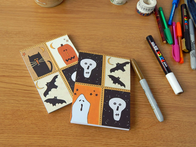 Halloween Patchwork Notebook,  Pumpkin, Ghost, Skulls and Bats, Orange and Black