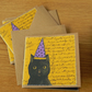 Halloween Black Cat Notebook with Black Pages
