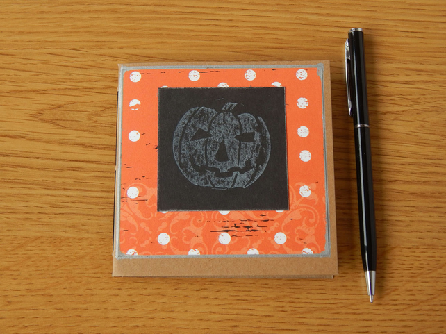 Halloween Pumpkin Notebook with hand printed linocut pumpkin