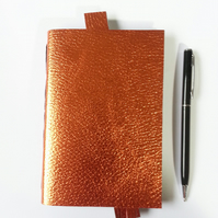 Copper Leather Journal, Notebook. Metallic Copper with leather bookmark